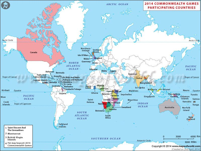 Commonwealth Games 2014 Participating Countries Maps Pinterest
