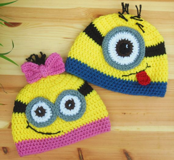 Free Crochet Pattern Minion Beanie : Minion Hat Girls Crochet Minion Hat Yellow by ...