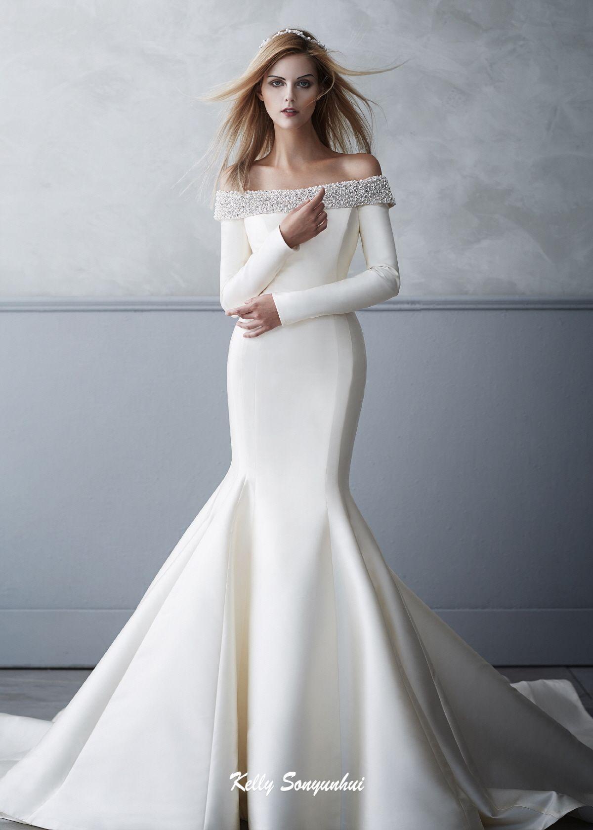 Kelly Sonyunhui €� Bridal Dresses Wedding With Bling Elegant Dress: Silk Mermaid Wedding Dress Sleeves At Reisefeber.org