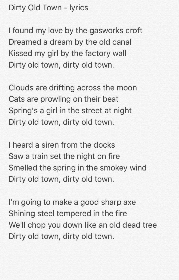 Dirty Old Town Pogues Cover W/ Lyrics and chords - YouTube