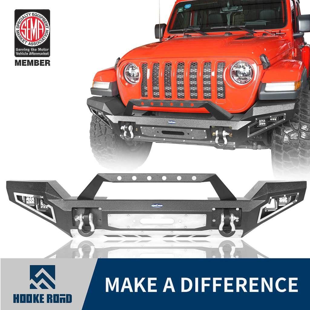 Hooke Road Full Width Front Bumper W Winch Plate 2020 Jeep