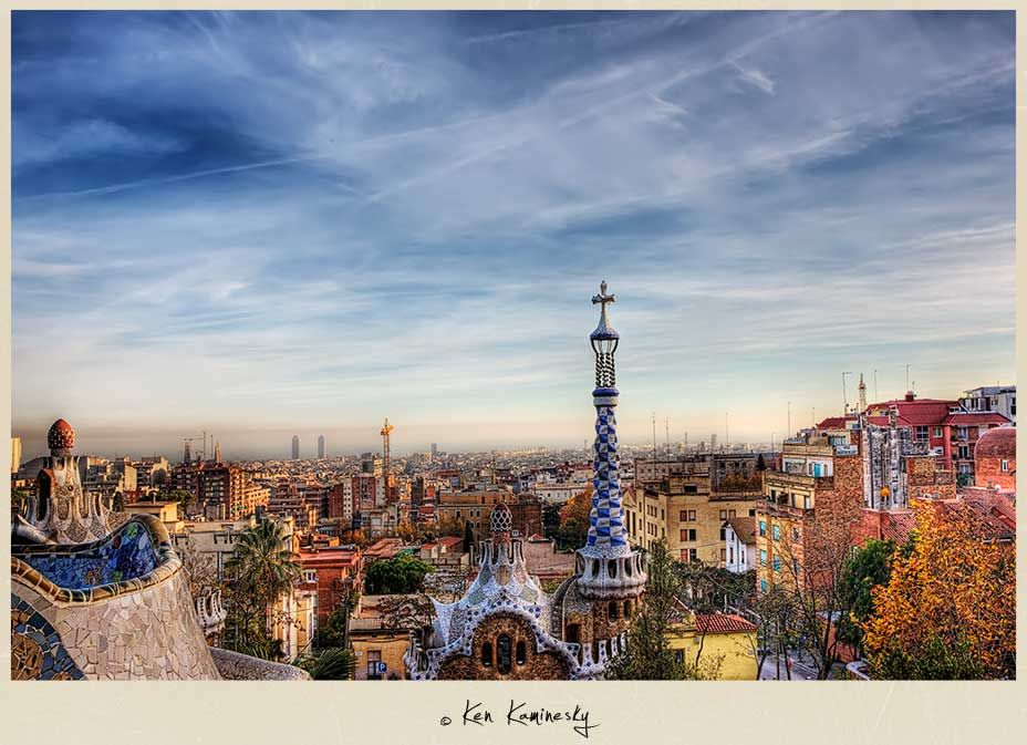 Barcelona Skyline from the top of Parc Guell by Ken Kaminesky