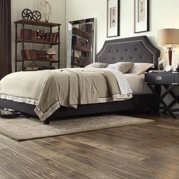 Inspire Q Grace Dark Grey Linen Button Tufted Arched Bridge Upholstered Bed Overstock Shopping