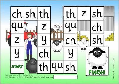 Y Z QU CH SH TH phonics board game (SB6978) - SparkleBox   K ...