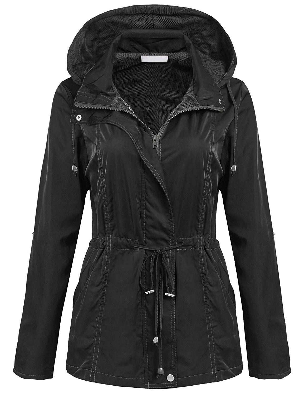 Women waterproof lightweight rain jacket outdoor hooded raincoat