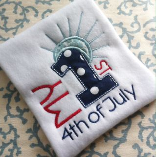 Girl 1st 4th of July Machine Embroidery Design Digital Applique Instant Download