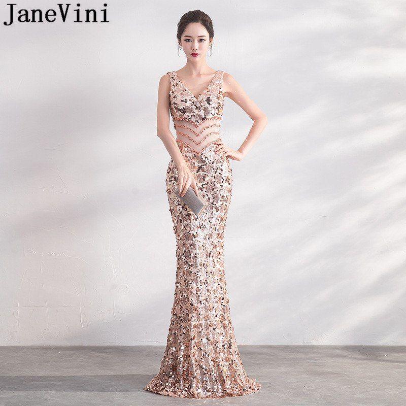 e2e53906db JaneVini Sexy Bling Rose Gold Sequins Bridesmaid Dresses Long ...
