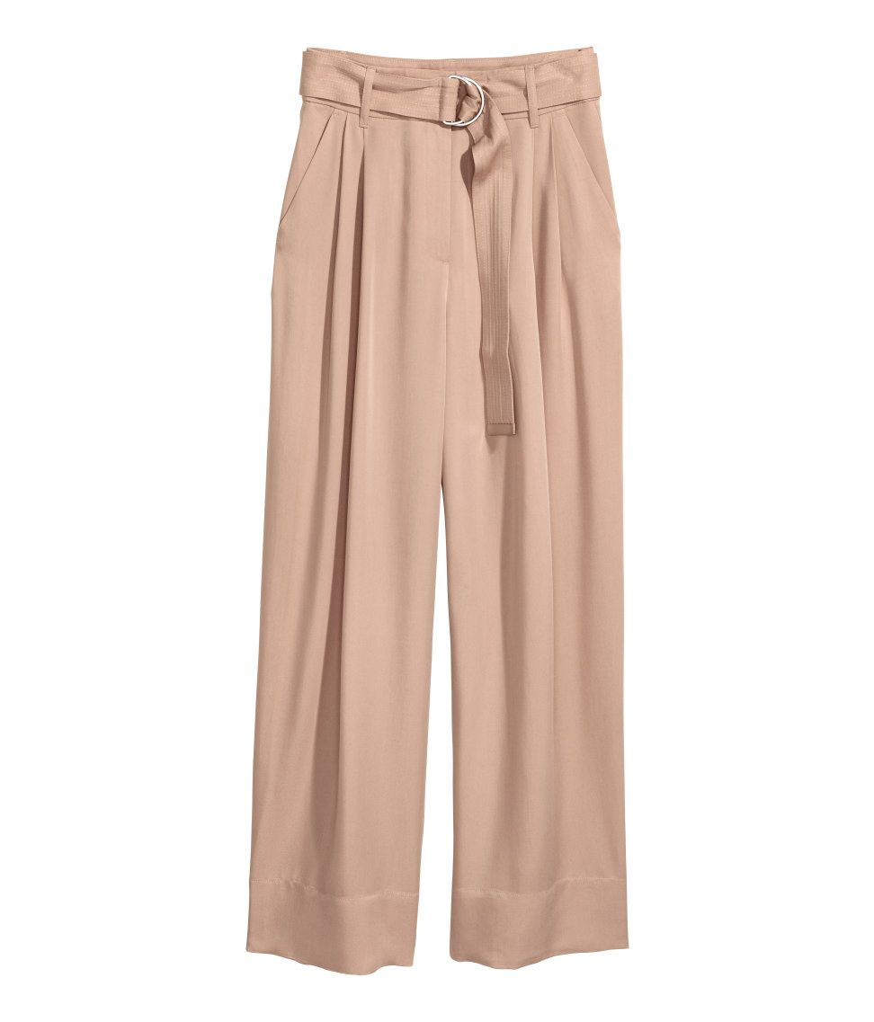 Pantalon Holgado En Lyocell Beige Claro Mujer H M Mx Pantalones De Moda Pantalones Holgados Moda