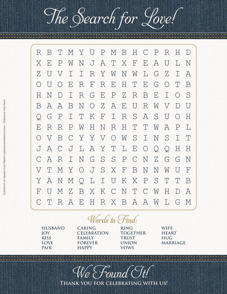 Free wedding printable! The Search for Love word search game ...