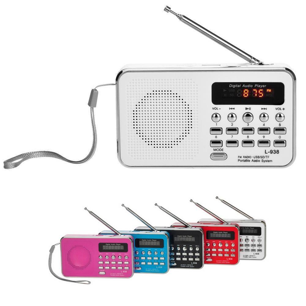 Portable Fm Am Radio Digital Mini Speaker Music Mp3 Player Aux Usb