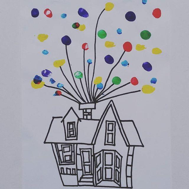 #mondaymood #childrenwork #school #artcraft #artproject #handmade#fingertips #collage#up #colours #balloons