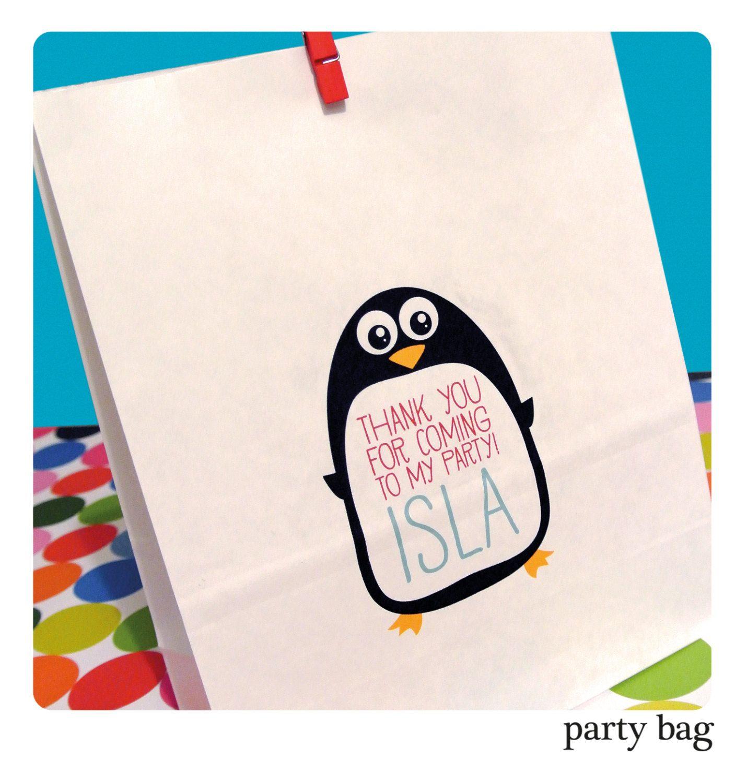 5 X Personalised Childrens PENGUIN ANIMAL BIRD Birthday Party ...