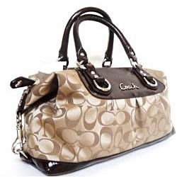 09cfec5d266f Coach Signature Ashley Sabrina Brown Fabric Leather Satchel Bag ...