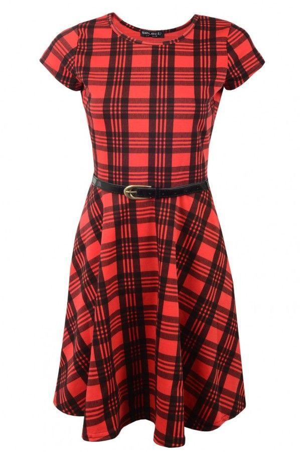 db41c3ca4bc4 Select Fashion Fashion Womens Red Tartan Belted Skater Dress - size 6  ad