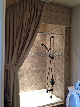 Solid Valance And Tied Back Drape In Front Of Shower Curtain I