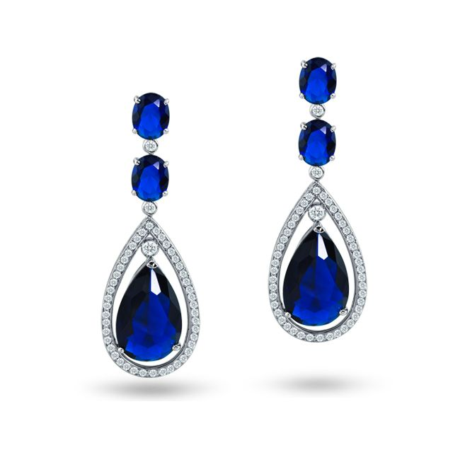 Cz Sapphire Color Silver Oval Double Teardrop Chandelier Earrings ...