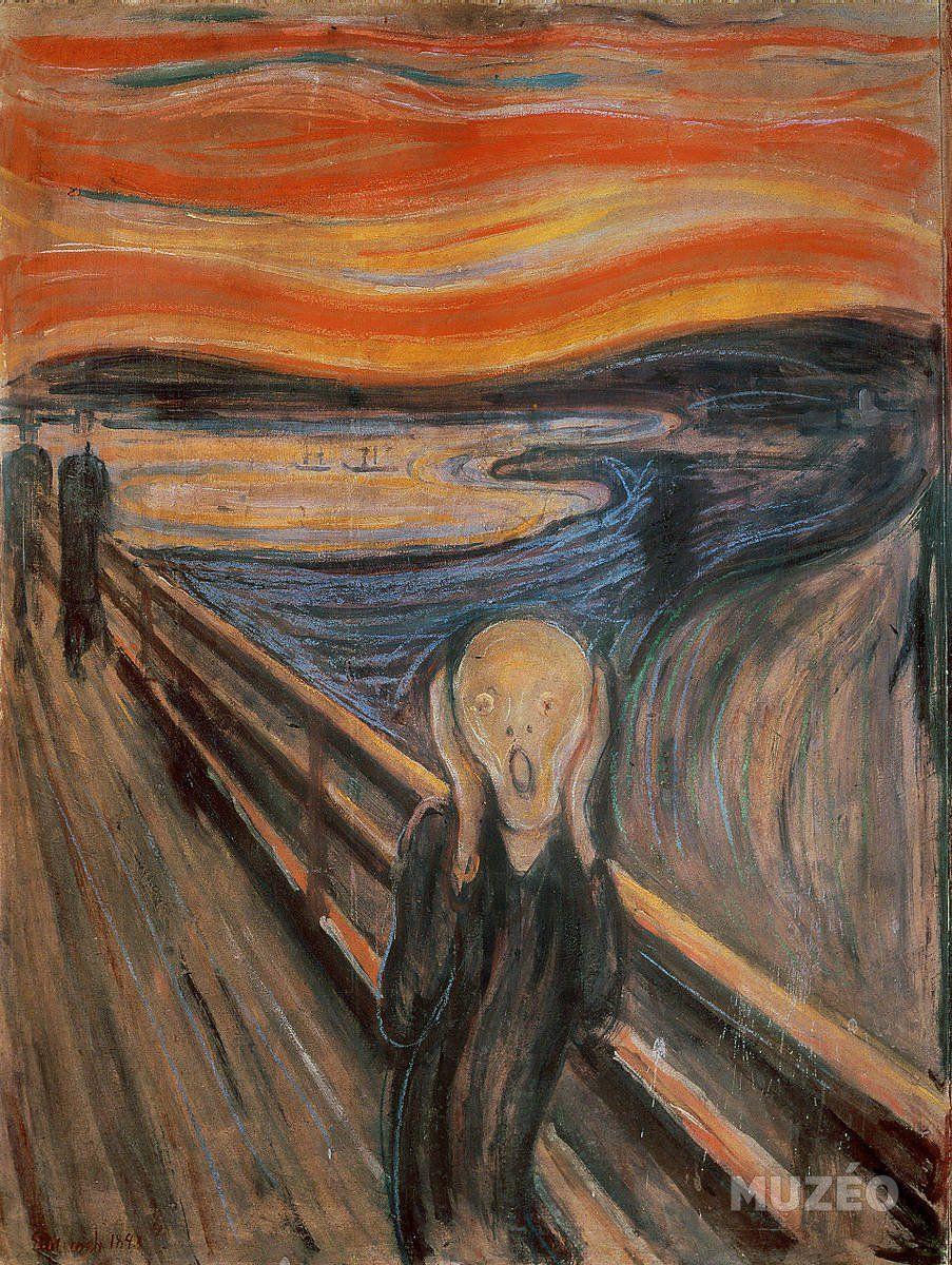 Le cri de Munch Edvard - Reproduction d'art haut de gamme   Le cri, Peinture celebre, Tableau le cri