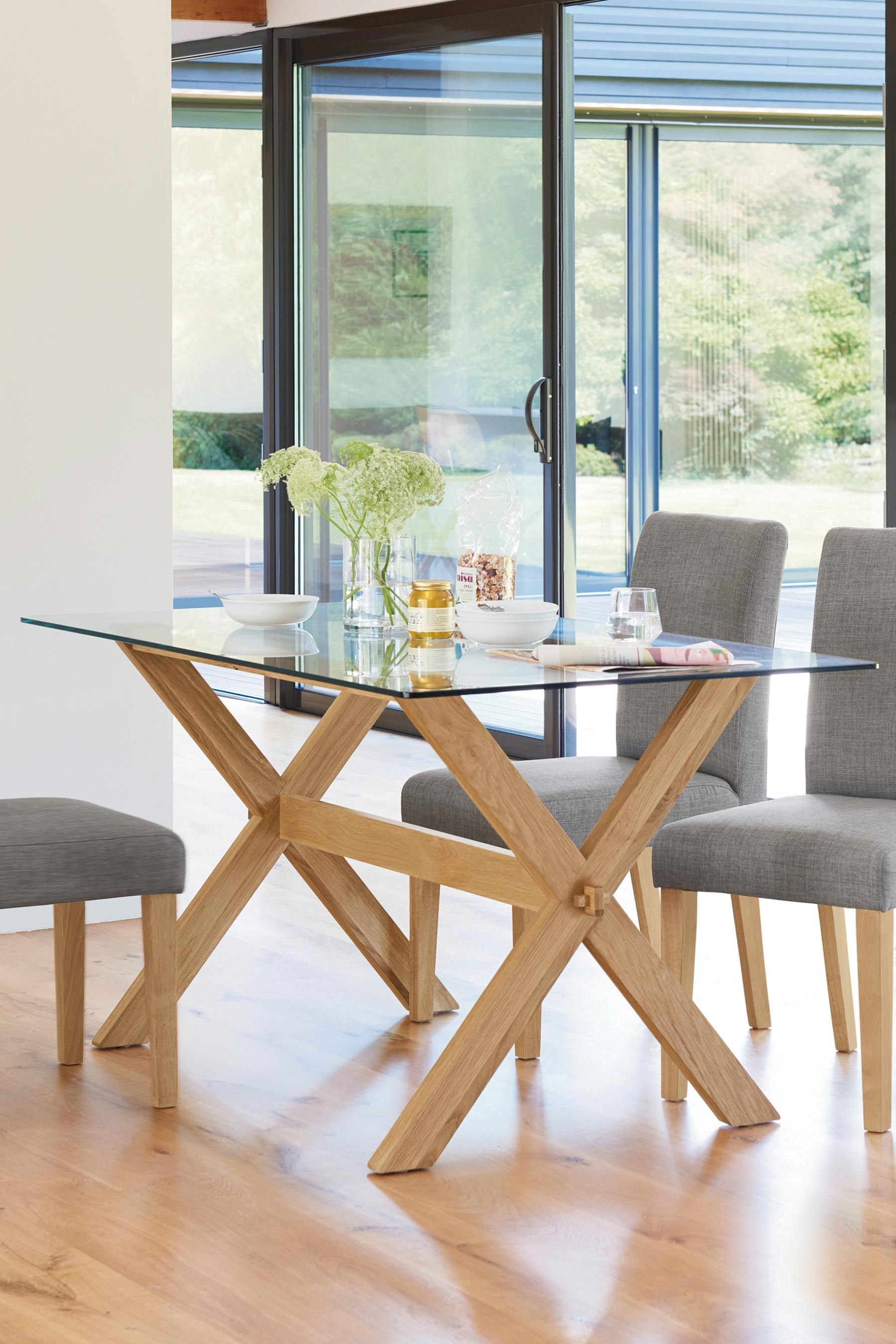 Buy Oak And Glass Rectangle Dining Table From The Next Uk Online