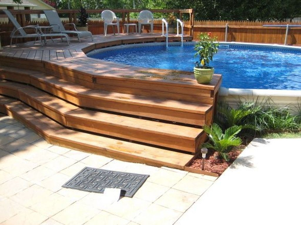 44 Pervect Wood Pool Decks For Above Ground Pool Ideas Page 28 Of 44 Above Ground Pool Landscaping Swimming Pool Landscaping Wood Pool Deck