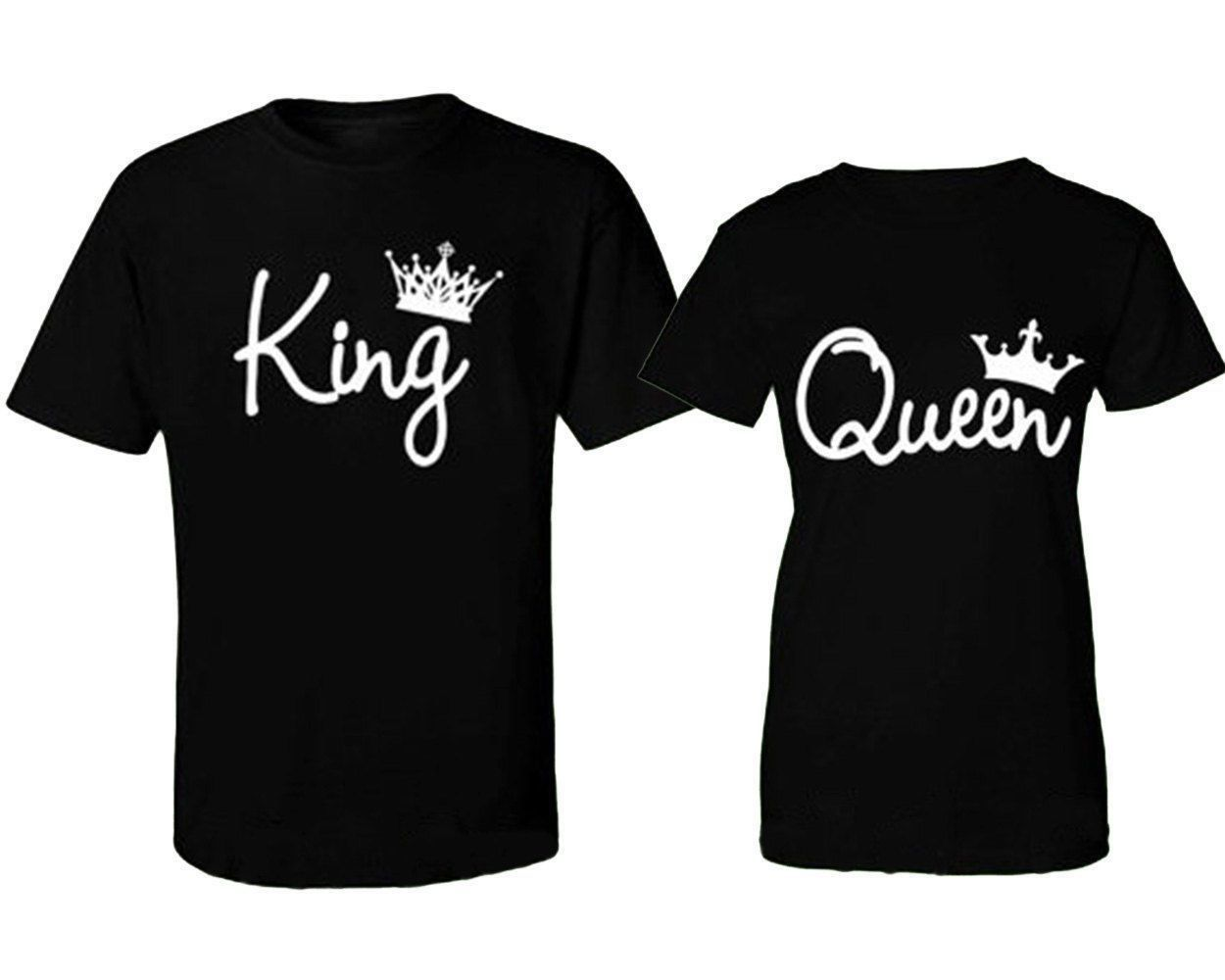 bf3f8b55 US STOCK Couple T-Shirt King and Queen - Love Matching Shirts Couple Tee  Tops WR