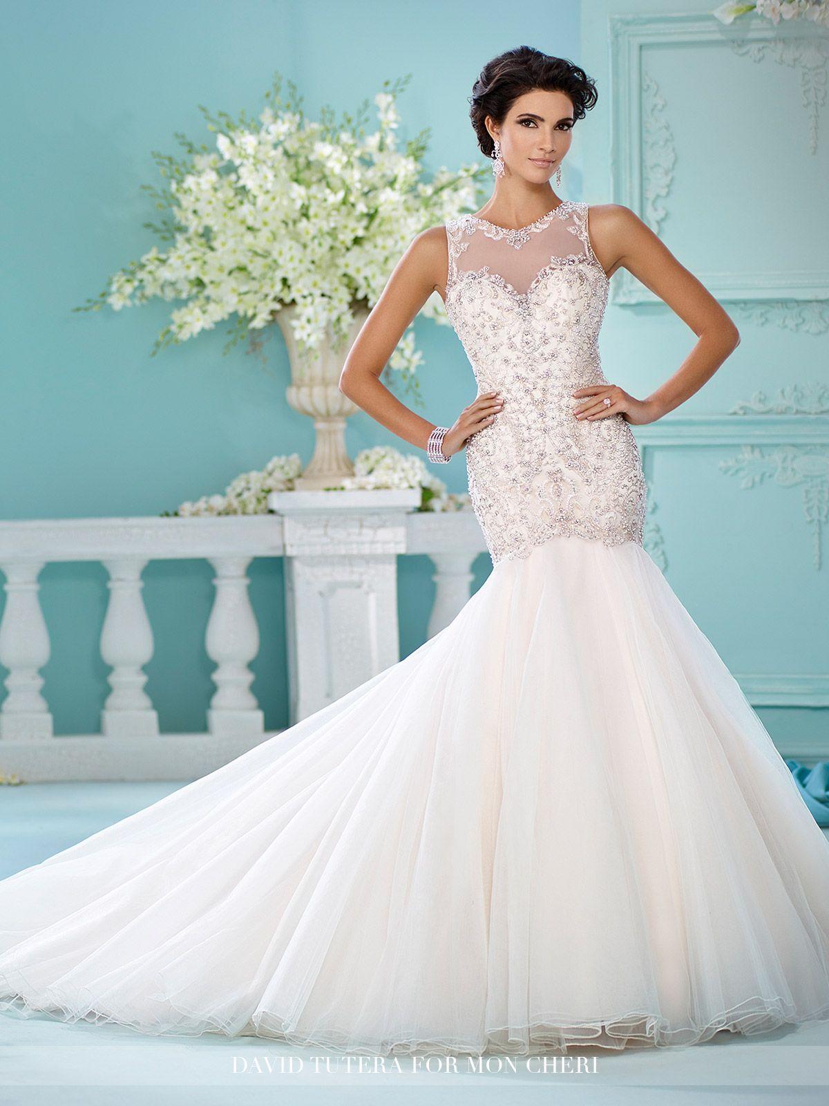 Embroidered Tulle & Satin Trumpet Wedding Dress- 216240 Neela   León