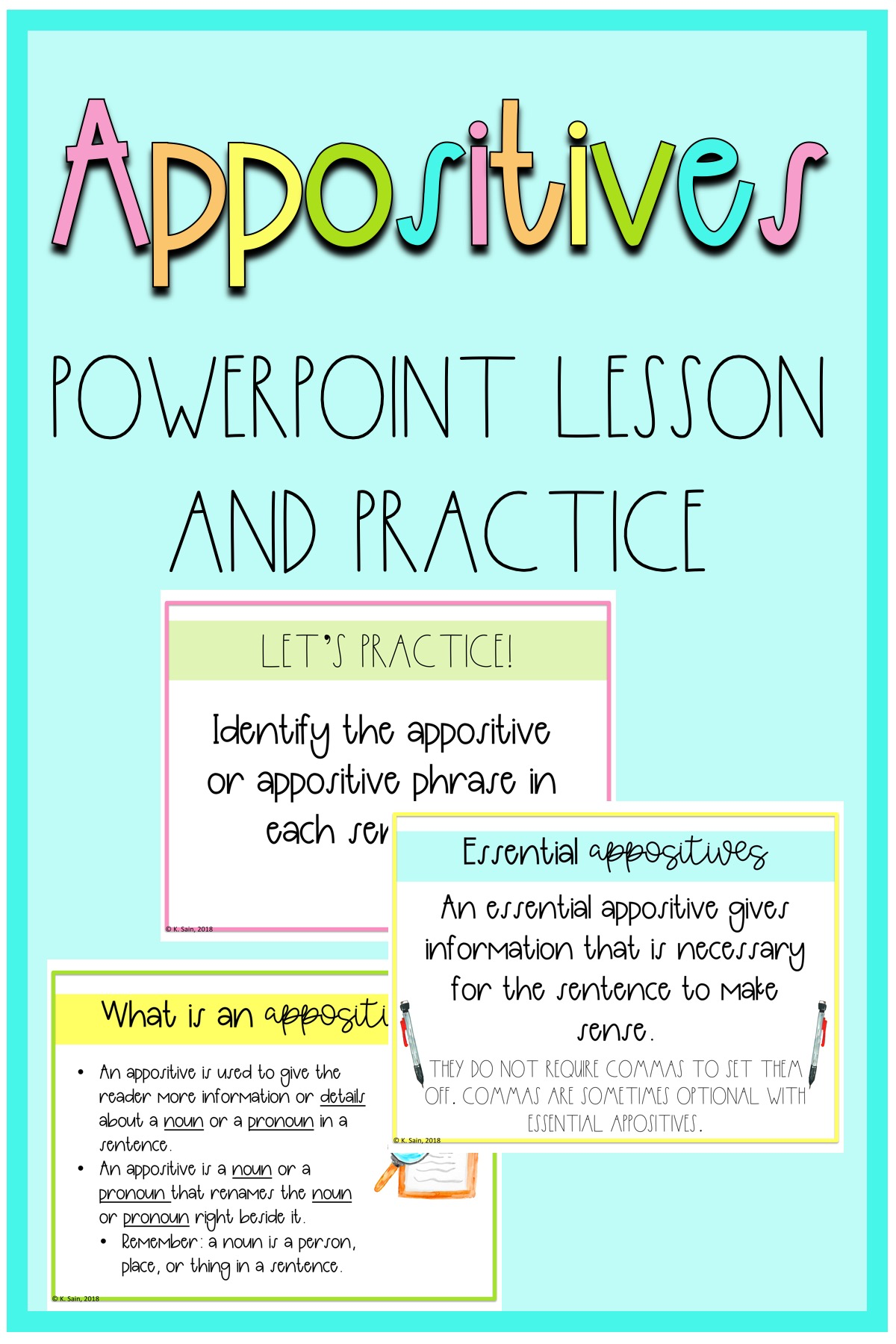 Appositives And Appositive Phrases Powerpoint With Notes
