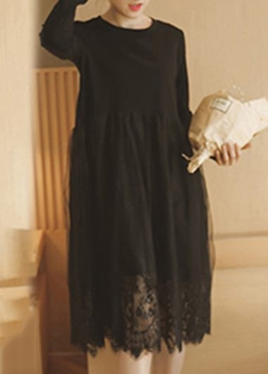 24.88$  Watch here - http://diuo3.justgood.pw/go.php?t=169317 - Lace Panel Solid Black Scalloped Hem Tunic Dress