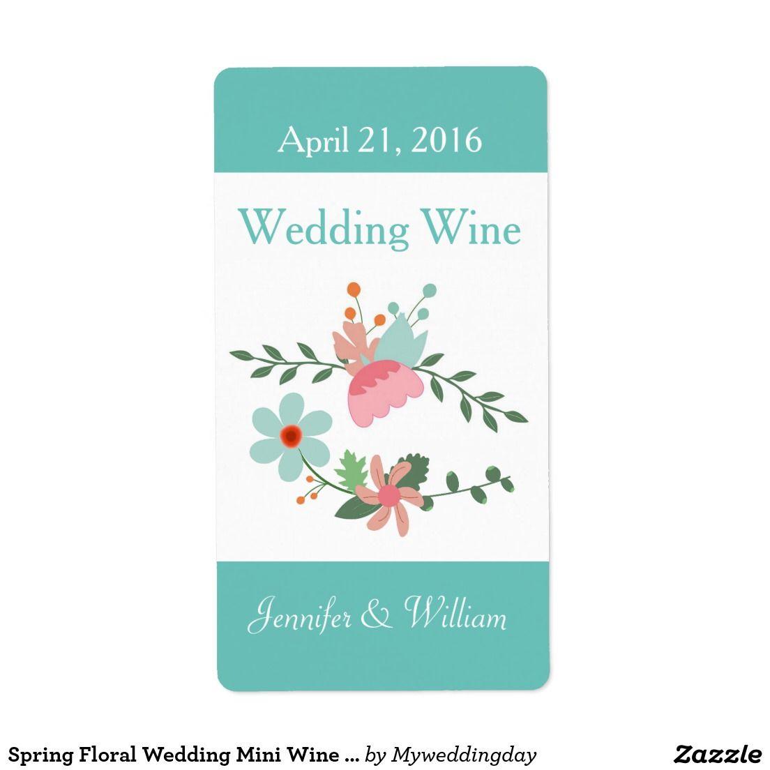 Spring Floral Wedding Mini Wine Label   Floral wedding, Wedding ...