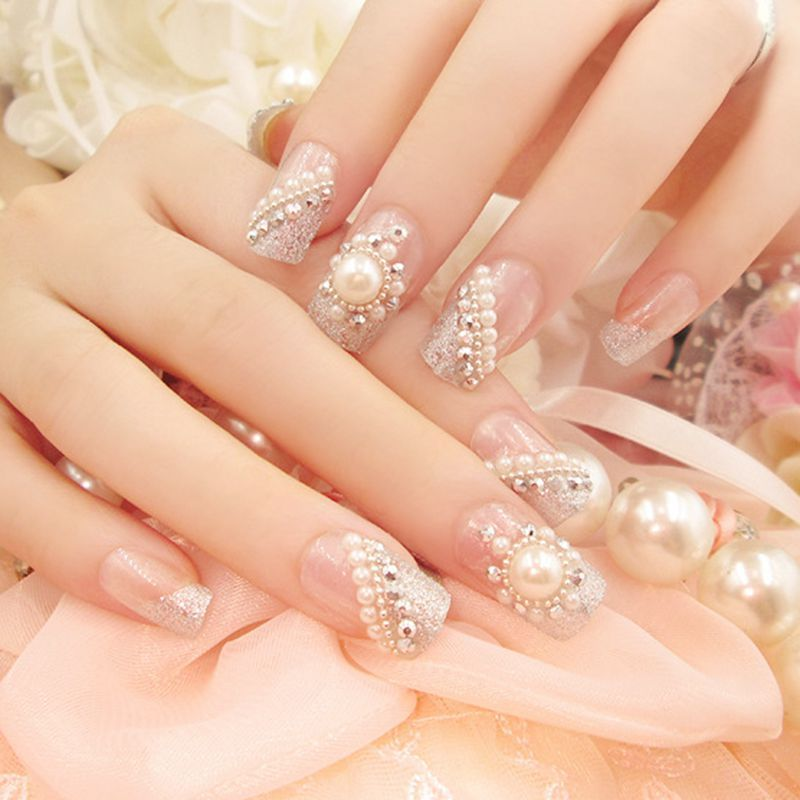 Clear Fake Nail Glitter Silver French False Nails Tips Large Pearl ...