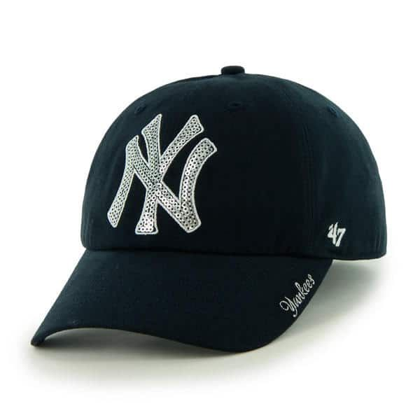 faf1b166c516b New York Yankees Women s 47 Brand Sparkle Navy Clean Up Adjustable ...