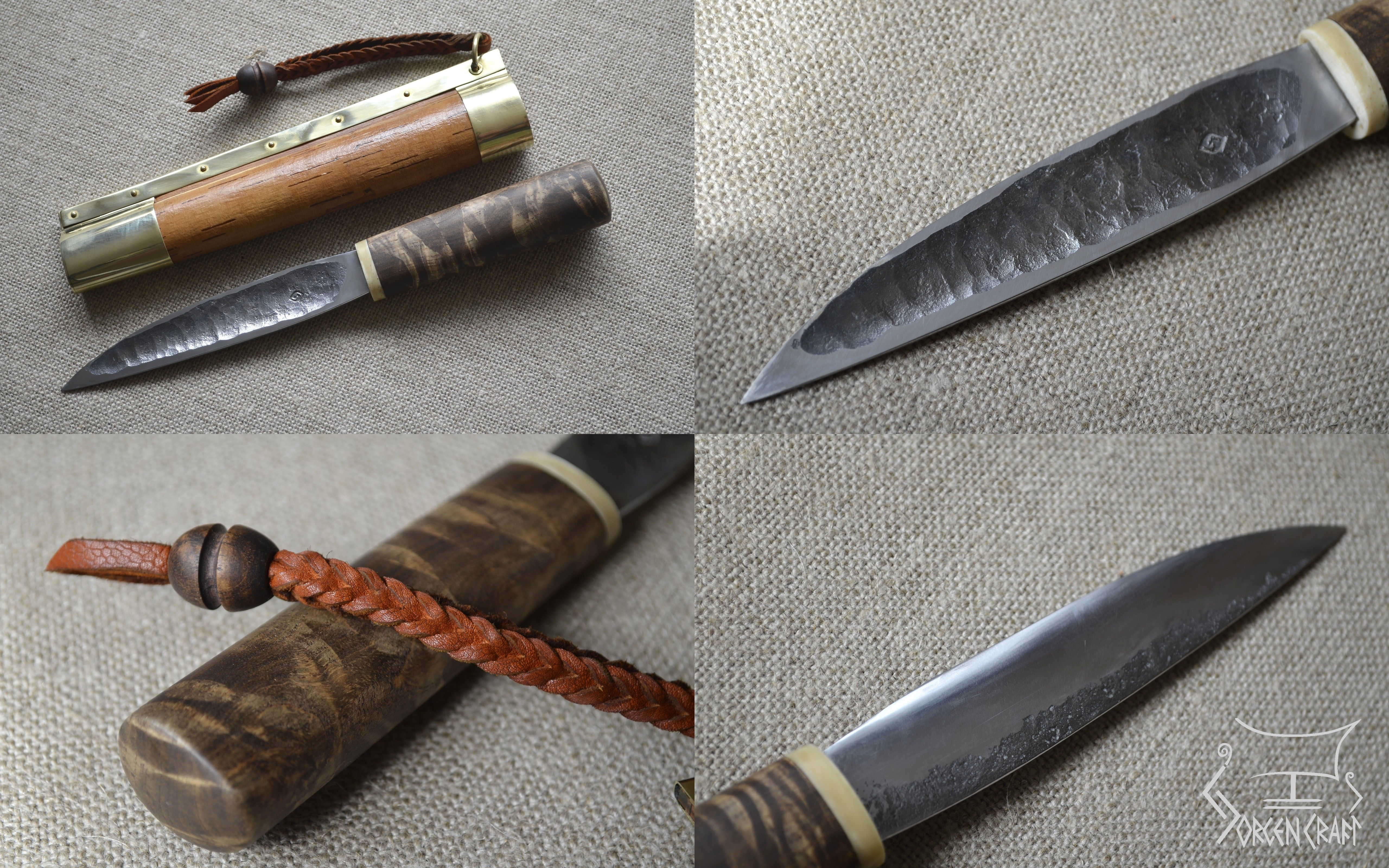 yakut knife hand forged blade handle made from burl with bone