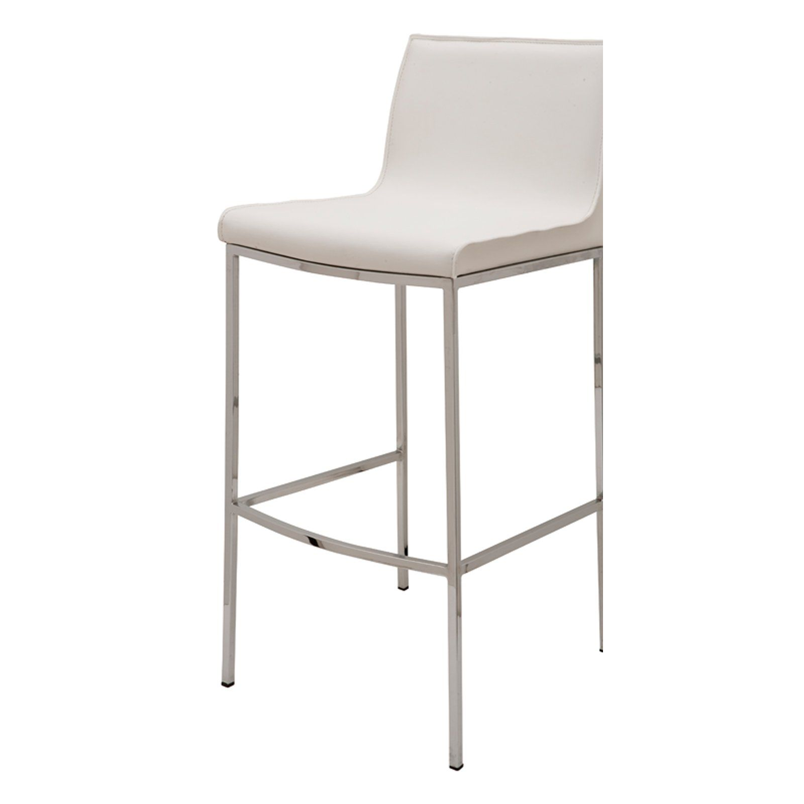 Nuevo 25 75 In Colter Leather Counter Stool White White Leather