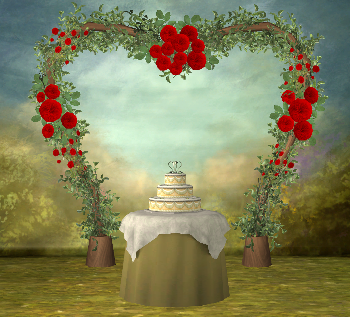 Functional 3t2 Wedding Arch, Cake, Champagne Bottle