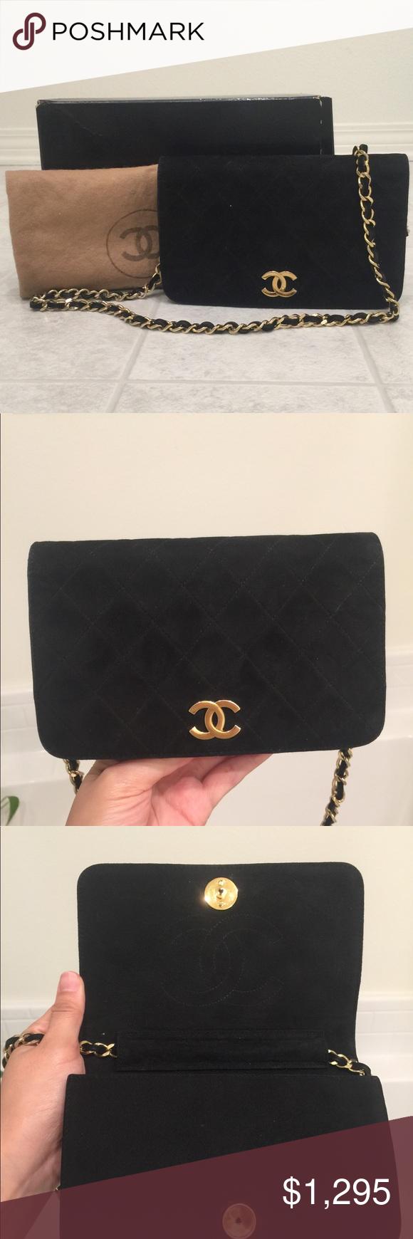 Chanel vintage suede mini flap shoulder bag Size W 7.48