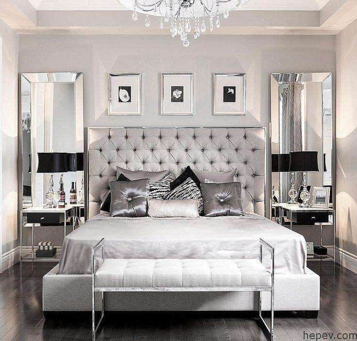 Gri ve Gümüş Tonlarında Yatak Odası Dekorasyonları #bedroominspirations