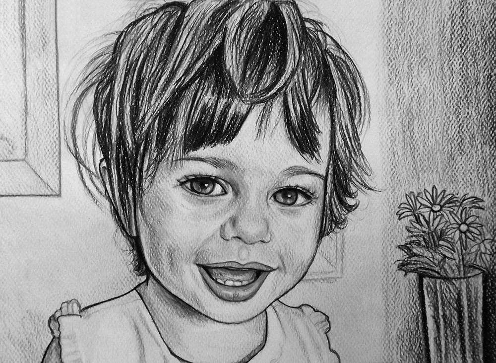 Ritratti Bambini ~ Ritratto su commissione da foto matita su cartoncino bambini