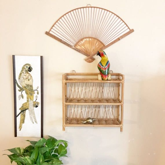 Vintage Rattan Wall Shelf Bamboo Shelf By Vintagegirlhome