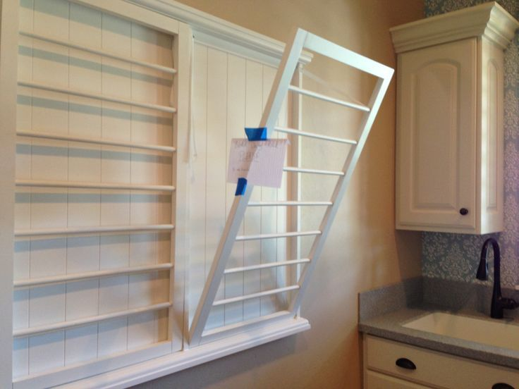 Custom Made Wall Mounted Folding Drying Rack For Laundry Room With