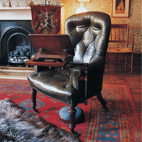 Thomas Carlyle's Chair, Carlyle's house, Chelsea, London - what a fabulous chair-desk combo! Would be perfect for writing ghosty stories...