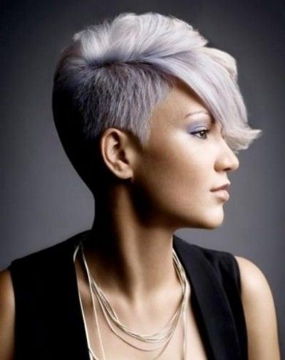 Half Shaved Pixie Hairstyle With Grey And Pink Colouring