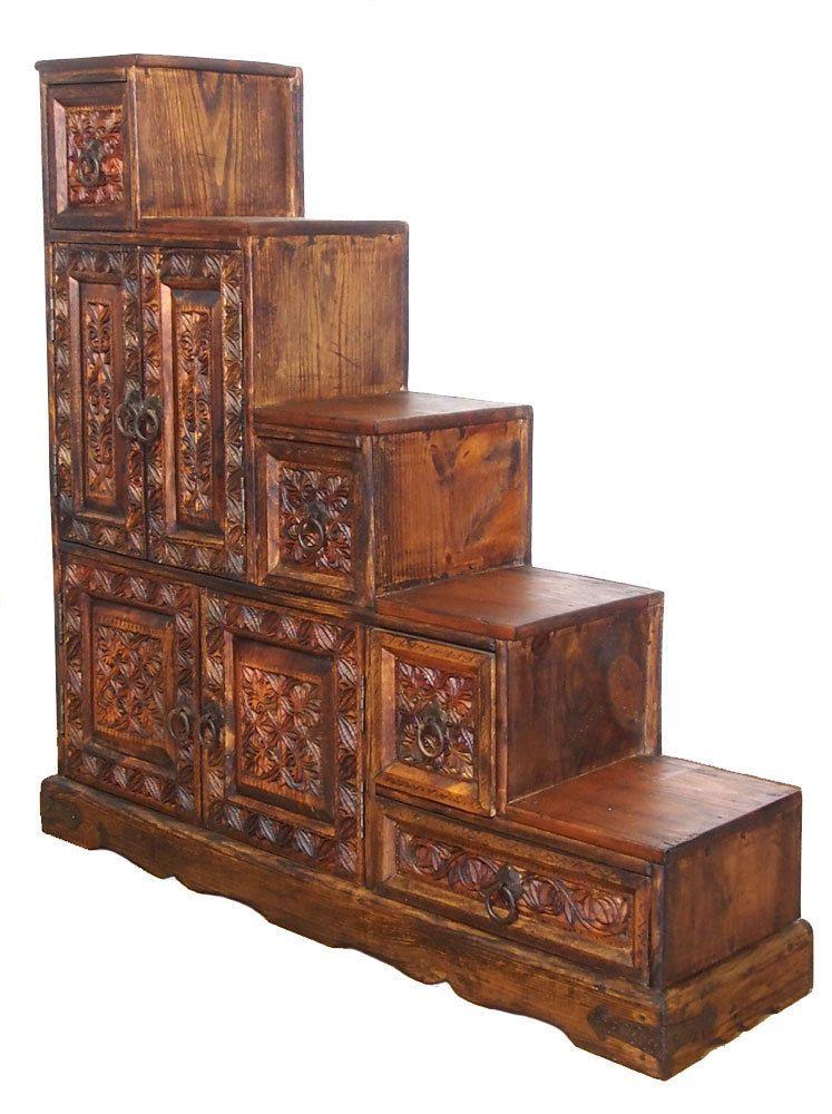 Antik-look bauernschrank schrank kommode Treppenschrank Stair ...