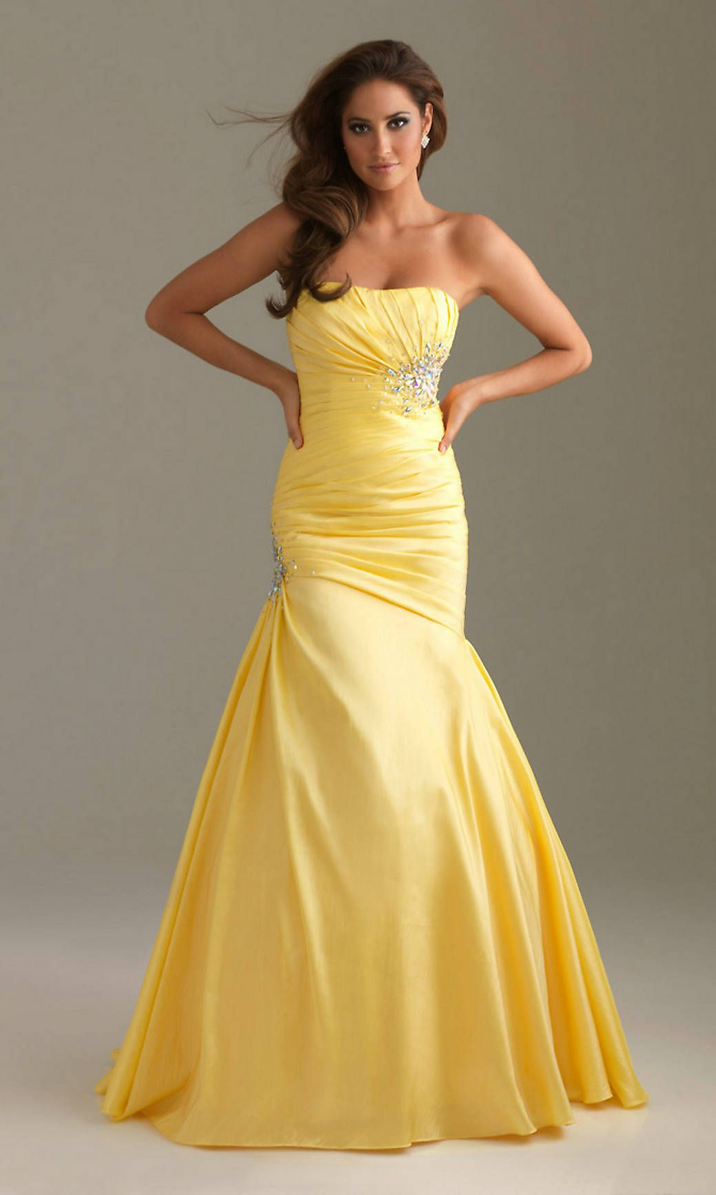 Yellow Strapless Prom Dresses