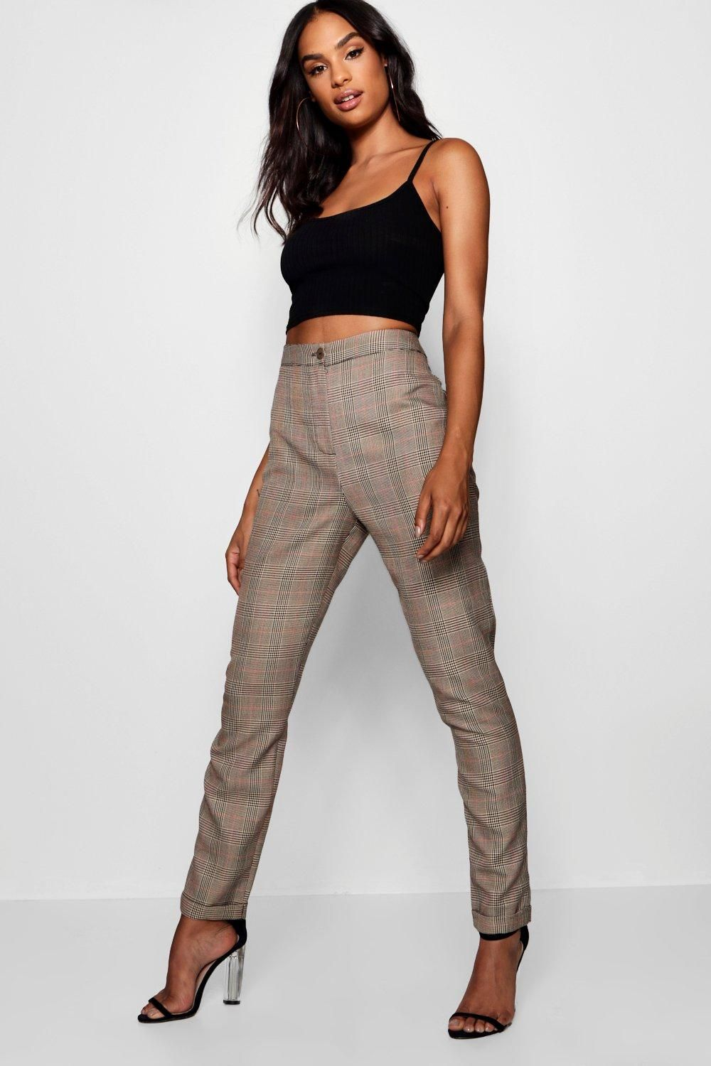Tall Checked Woven Tapered Pants Boohoo Tall Girl Outfits Tall Girl Fashion Clothing For Tall Women [ 1500 x 1000 Pixel ]