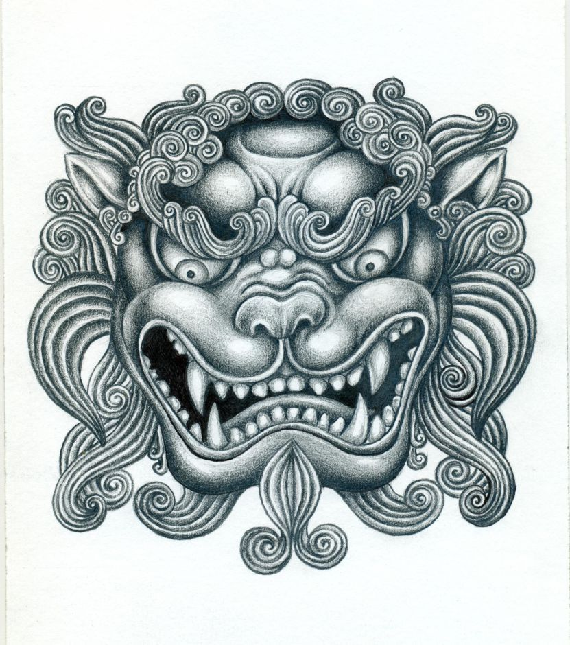 foo dog google search art stuff pinterest foo dog head tattoos and search. Black Bedroom Furniture Sets. Home Design Ideas
