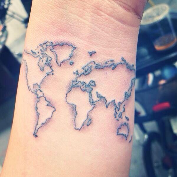 Mini world map tattoo body art pinterest map tattoos mini world map tattoo gumiabroncs Image collections