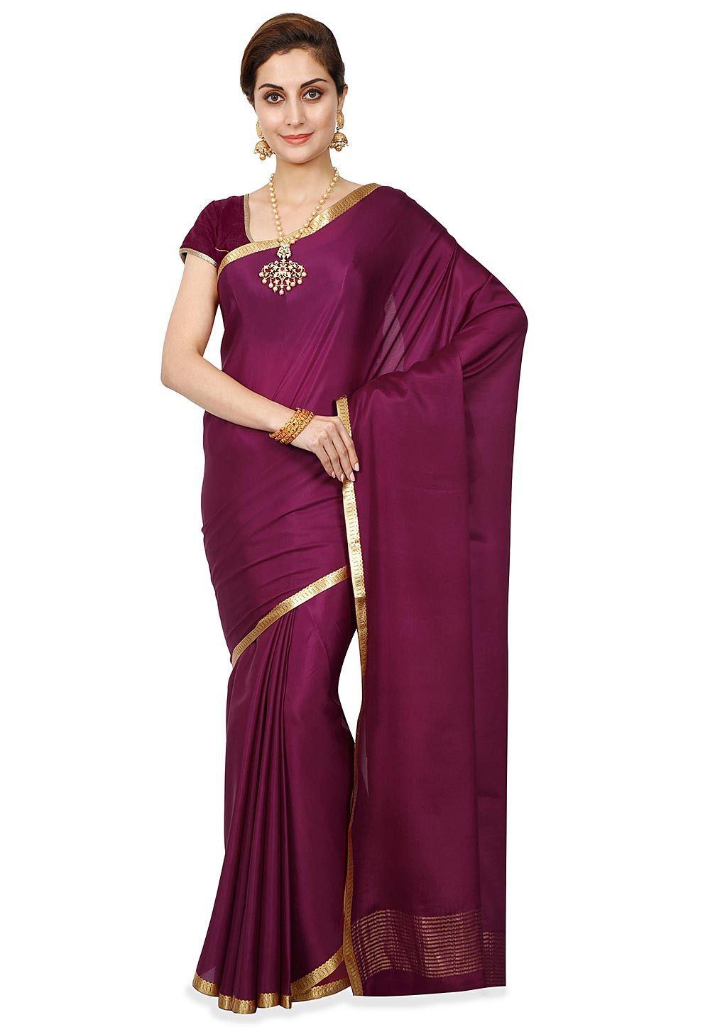 97dcf4f415 Buy Pure Mysore Crepe Silk Saree in Wine Purple online, Item code: SHU1047,  Color: Purple, Occasion: Wedding, Festive, Style: Mysore Silk, Work:  Traditional ...