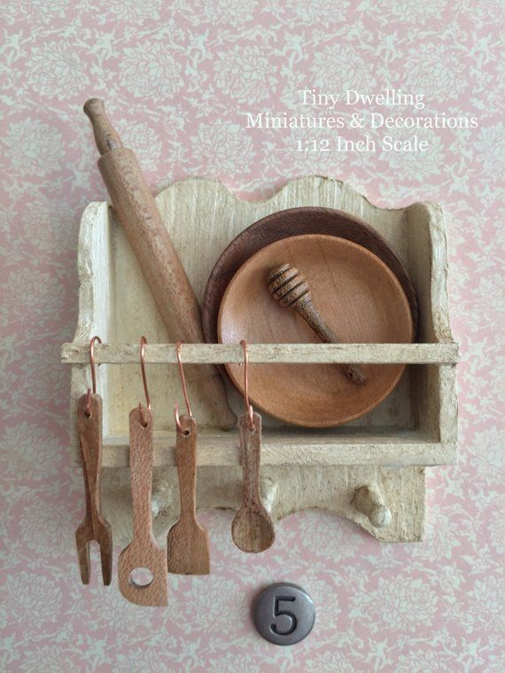 Miniature Kitchen Tools, Dollhouse Wooden Utensils, Miniature Cooking, Dollhouse Kitchen #miniaturekitchen