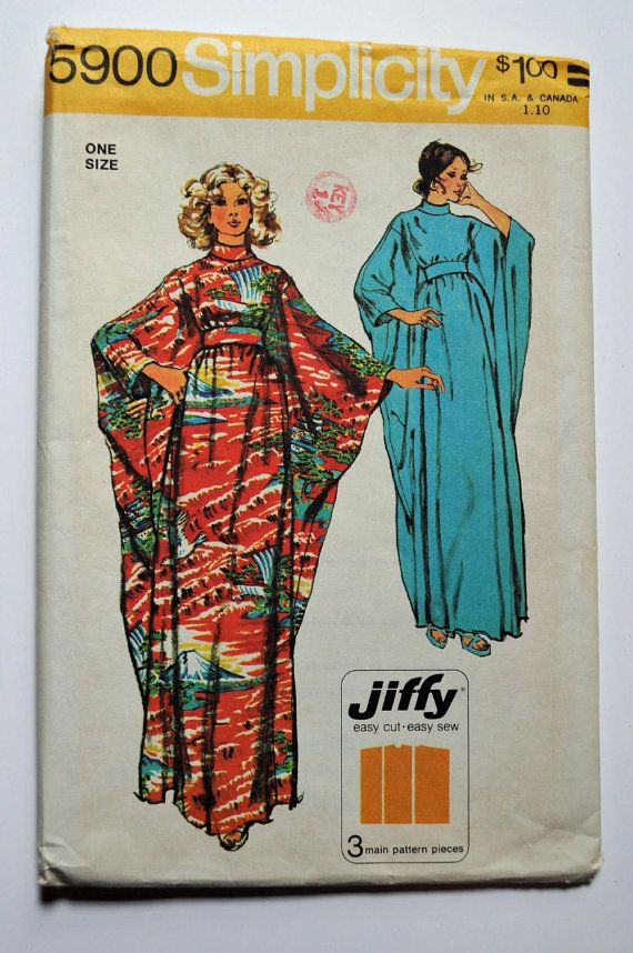 Vintage 70s Caftan Pattern Maxi Dress Pattern Womens Sewing Patterns ...