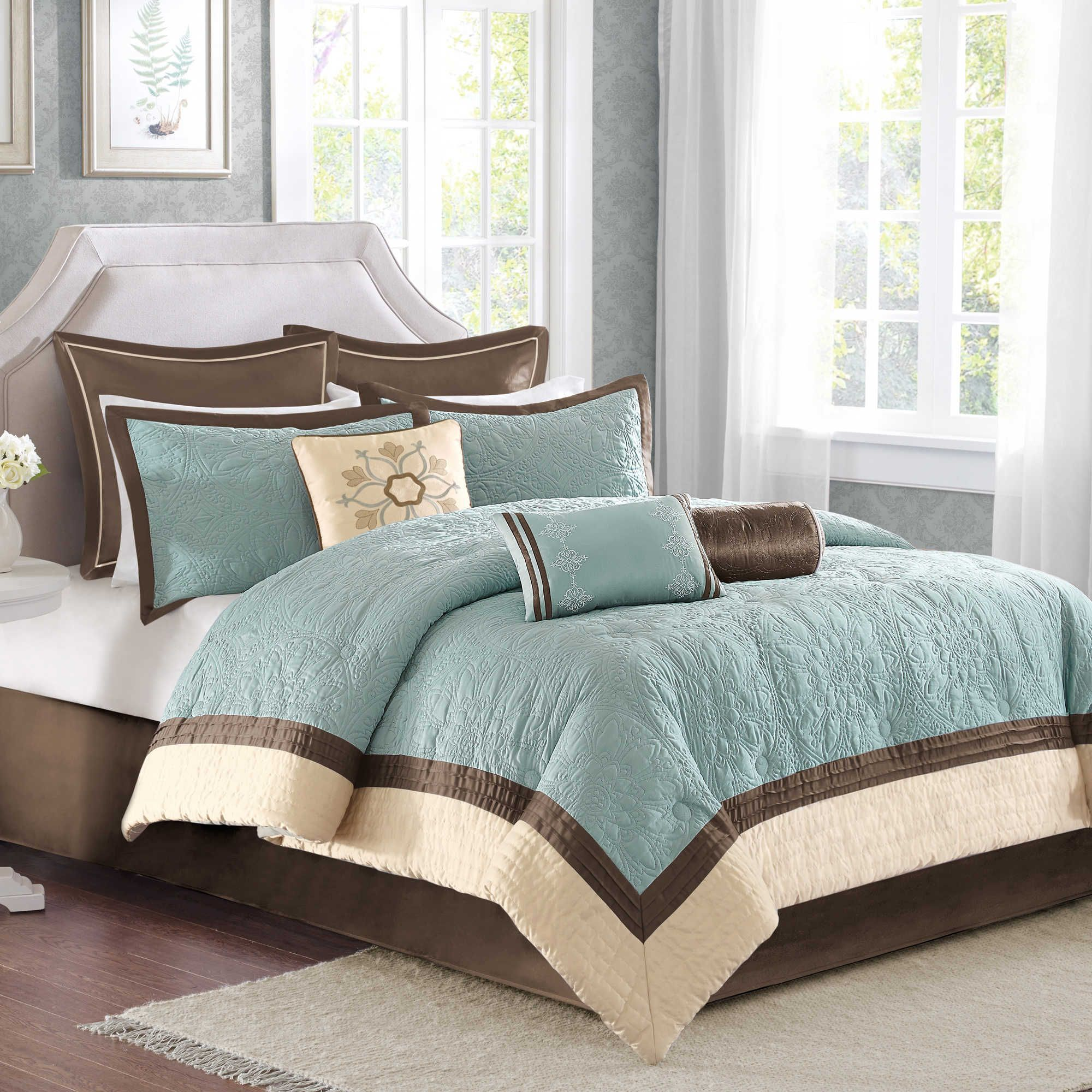 Blue And Brown Bedroom Set madison park juliana 9-piece comforter set in blue | bedding
