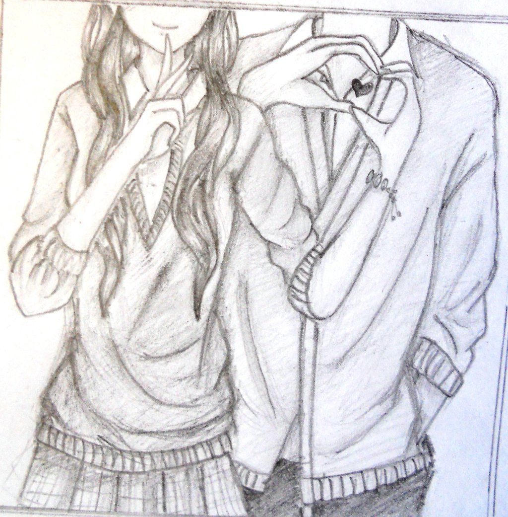 Anime Couple Back Hug Pencil Sketch